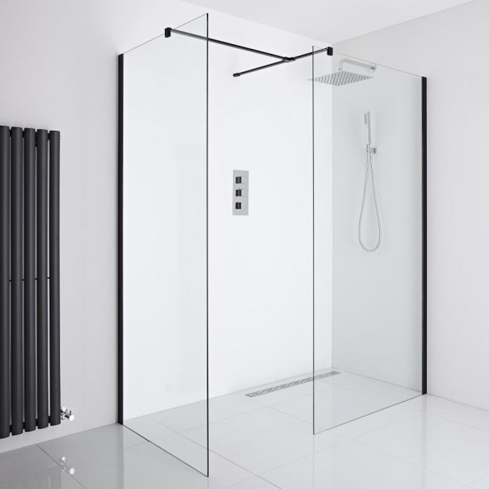 Milano Nero Corner Wet-Room Shower Enclosure (1200mm x 800mm Glass) - Inc. Drain