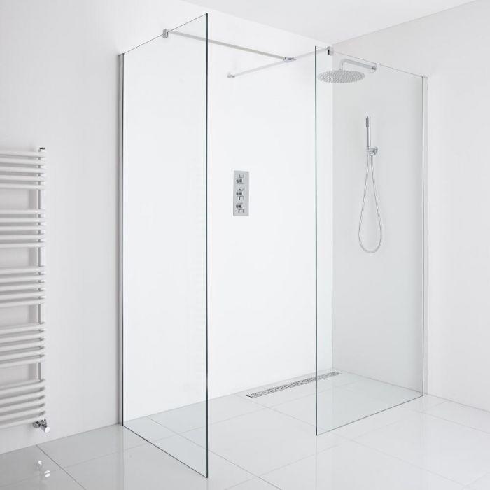 Milano Portland Corner Wet-Room Shower Enclosure (1200mm x 800mm Glass) - Inc. Drain