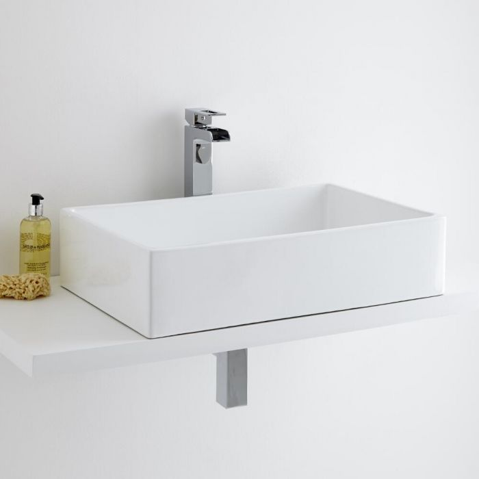 Milano Westby Rectangular Countertop Basin with Parade High Rise Basin Tap