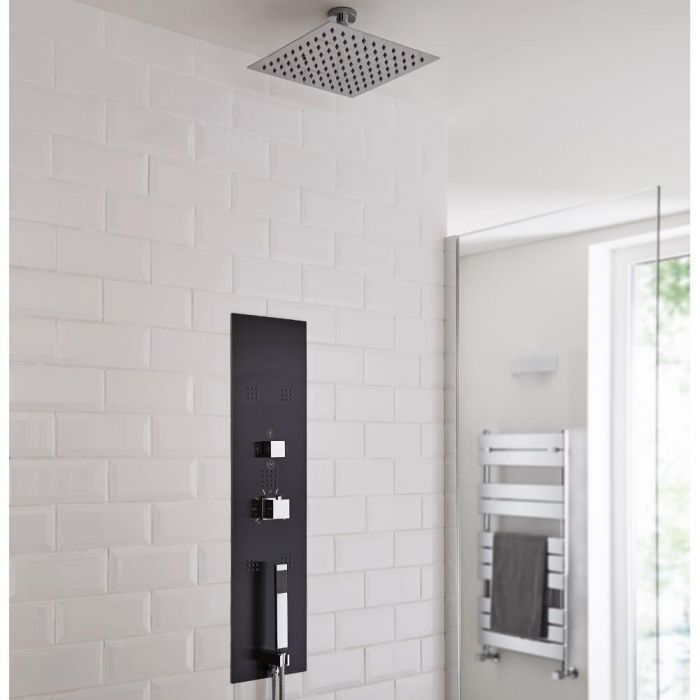 Milano Lisse Concealed Shower Tower with 200mm Square Head and Short Ceiling Arm