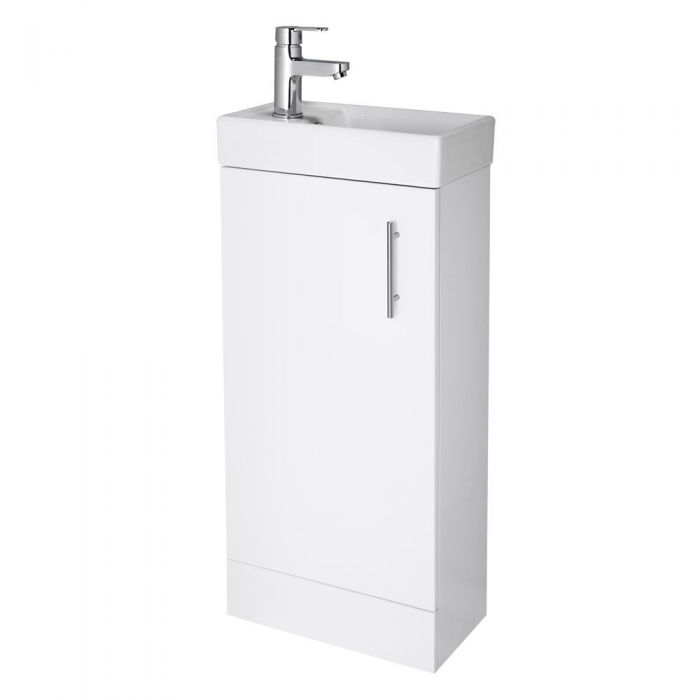 Premier 400mm White Minimalist Compact Cloakroom Vanity Unit