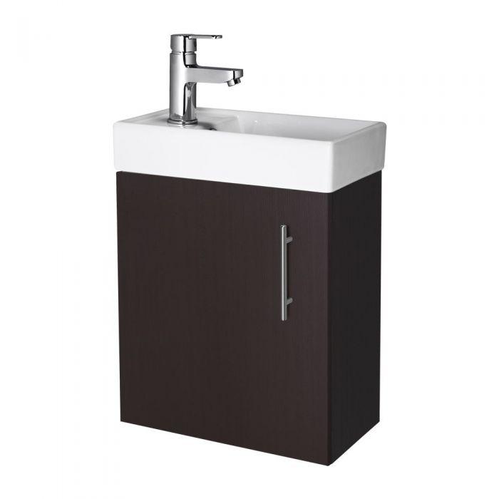 Premier 400mm Ebony Minimalist Wall Hung Cloakroom Vanity Unit