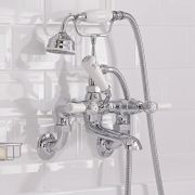 Hudson Reed Topaz White Lever Wall Mounted Bath Shower Mixer with Shower Kit