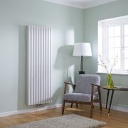 Milano Aruba Flow - White Vertical Double Panel Middle Connection Designer Radiator 1600 x 590mm