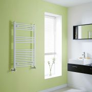 Milano Curved White Heated Towel Rail 1000mm x 600mm