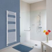 Milano Calder Electric - Curved White Heated Towel Rail 1800mm x 600mm