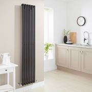 Milano Aruba - Luxury High Gloss Black Vertical Designer Radiator 1780mm x 354mm