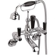 Hudson Reed Topaz Black Lever Wall Mounted Bath Shower Mixer with Shower Kit