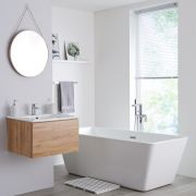 Milano Oxley - 600mm Modern Vanity Unit with Basin - Golden Oak
