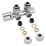 "Milano Chrome 3/4"" Male Thread H Block Angled Valve Chrome Handwheel with 14mm Copper Adaptor"