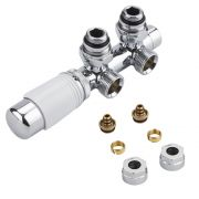 "Milano Chrome 3/4"" Male H Block Angled Valve with White TRV Head & 14mm Multi Adaptors"