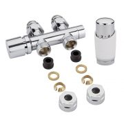 Milano Chrome 3/4'' Male H Block Straight Valve with White TRV & 12mm Copper Adaptors