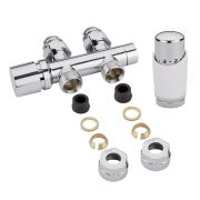 Milano Chrome 3/4'' Male H Block Straight Valve with White TRV & 14mm Copper Adaptors