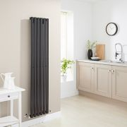 Milano Aruba - Luxury High Gloss Black Vertical Designer Radiator 1600mm x 354mm