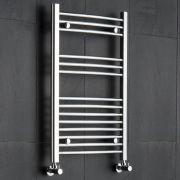 Kudox - Premium Chrome Curved Heated Bathroom Towel Radiator Rail 800mm x 500mm