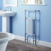 Milano Trent - Traditional Brass Heated Bathroom Towel Radiator Rail 930mm x 495mm