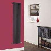Milano Cayos - Luxury High-Gloss Black Vertical Designer Radiator Sideways Panels 1600mm x 342mm