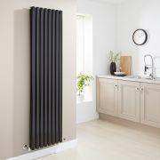 Milano Aruba - Luxury High Gloss Black Vertical Designer Double Radiator 1780mm x 472mm