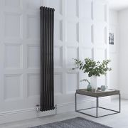 Milano Windsor - Traditional 6 x 2 Column Radiator Cast Iron Style High Gloss Black 1800mm x 293mm