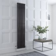 Milano Windsor - Traditional 8 x 2 Column Radiator Cast Iron Style High Gloss Black 1800mm x 383mm