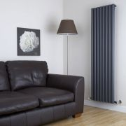 Milano Java - Anthracite Vertical Round Tube Designer Radiator 1600mm x 472mm