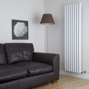 Milano Java - White Vertical Round Tube Designer Radiator 1600mm x 472mm