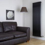 Milano Java - High Gloss Black Vertical Round Tube Designer Radiator 1780mm x 472mm