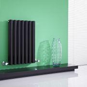 Milano Aruba - High-Gloss Black Horizontal Designer Radiator 635mm x 415mm (Double Panel)