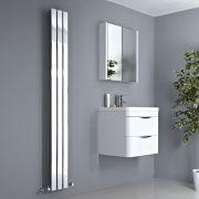 Milano Alpha - Chrome Vertical Slim Panel Designer Radiator 1800mm x 225mm