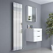 Milano Alpha - Chrome Vertical Slim Panel Designer Radiator 1800mm x 450mm