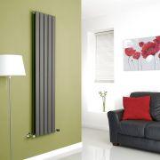Milano Anthracite Vertical Double Slim Panel Designer Radiator 1600mm x 350mm