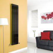 Milano High-Gloss Black Vertical Single Slim Panel Designer Radiator 1600mm x 350mm