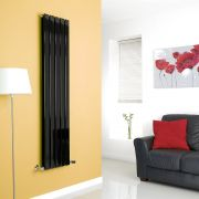 Milano High-Gloss Black Vertical Double Slim Panel Designer Radiator 1600mm x 350mm