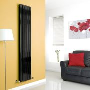 Milano High-Gloss Black Vertical Double Slim Panel Designer Radiator 1780mm x 350mm