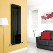 Milano High-Gloss Black Vertical Double Slim Panel Designer Radiator 1600mm x 490mm