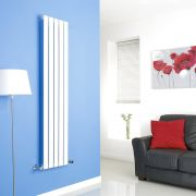 Milano White Vertical Single Slim Panel Designer Radiator 1600mm x 350mm