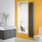 Milano Anthracite Space-Saving Vertical Designer Double Radiator 1780mm x 236mm (Double Panel)