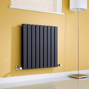 Milano Alpha - Gloss Black Horizontal Double Slim Panel Designer Radiator 635mm x 630mm