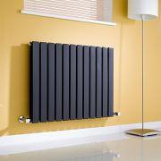 Milano Alpha - Gloss Black Horizontal Double Slim Panel Designer Radiator 635mm x 840mm