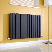 Milano Alpha - Gloss Black Horizontal Double Slim Panel Designer Radiator 635mm x 980mm