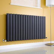 Milano Alpha - Gloss Black Horizontal Double Slim Panel Designer Radiator 635mm x 1190mm