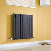 Milano Alpha - Gloss Black Horizontal Single Slim Panel Designer Radiator 635mm x 630mm