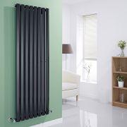 Milano Viti - Gloss Black Vertical Diamond Panel Designer Radiator 1600mm x 560mm