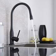 Milano Single Lever Swivel Spout Kitchen Sink Mixer Tap - Black