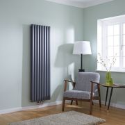 Milano Aruba Flow - Anthracite Vertical Double Middle Connection Designer Radiator 1600 x 472mm