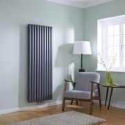 Milano Aruba Flow - Anthracite Vertical Double Middle Connection Designer Radiator 1600 x 590mm