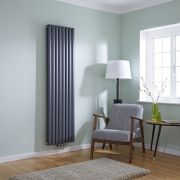 Milano Aruba Flow - Anthracite Vertical Double Middle Connection Designer Radiator 1780 x 472mm