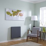 Milano Aruba Flow - Anthracite Horizontal Double Middle Connection Designer Radiator 635 x 595mm