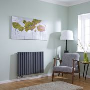 Milano Aruba Flow - Anthracite Horizontal Double Middle Connection Designer Radiator 635 x 834mm