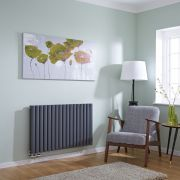 Milano Aruba Flow - Anthracite Horizontal Double Middle Connection Designer Radiator 635 x 1000mm